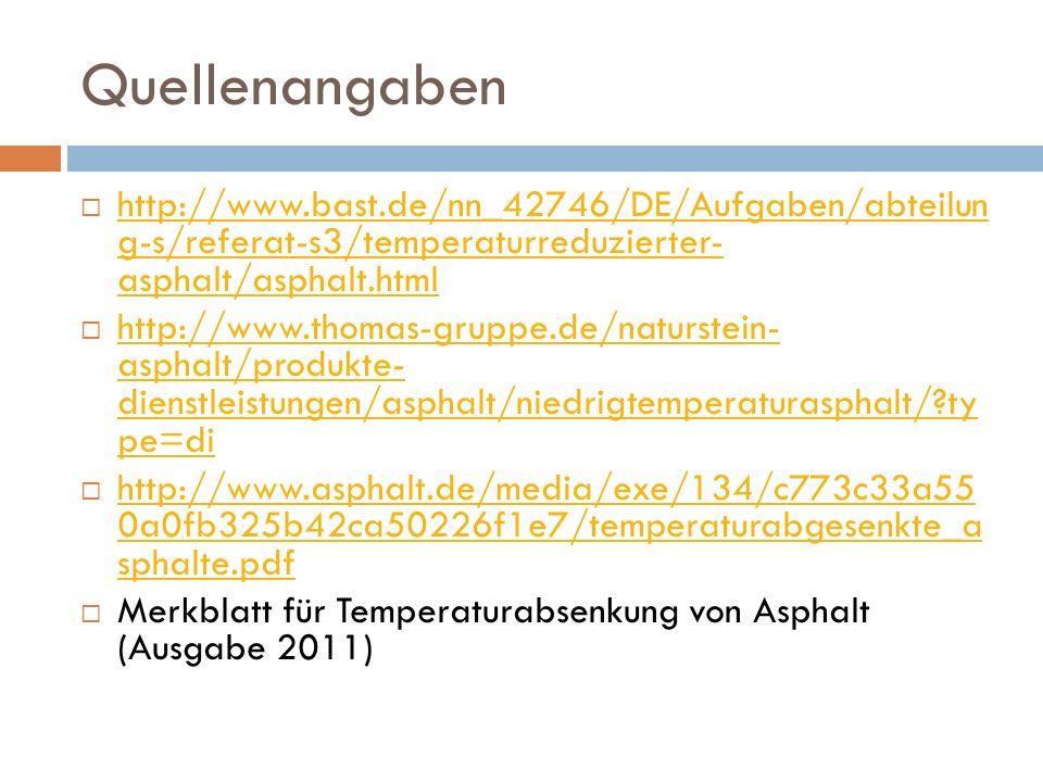 Quellenangaben http://www.bast.de/nn_42746/DE/Aufgaben/abteilun g-s/referat-s3/temperaturreduzierter- asphalt/asphalt.html http://www.bast.de/nn_42746