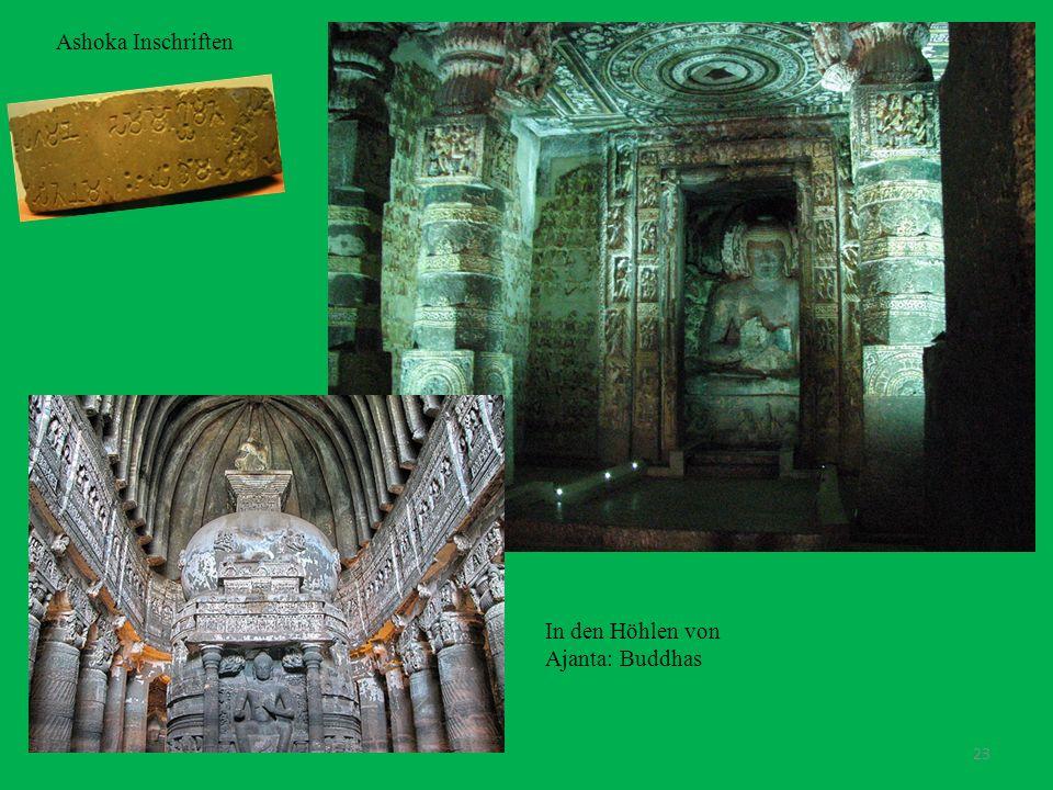 23 Ashoka Inschriften In den Höhlen von Ajanta: Buddhas