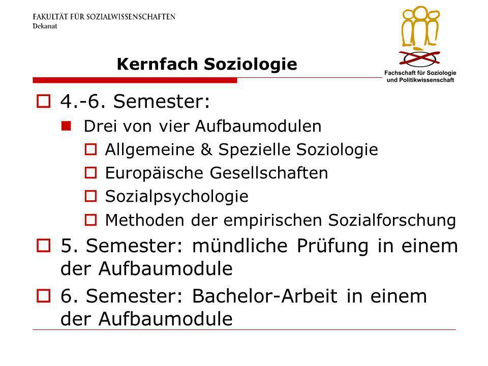 Kernfach Soziologie 4.-6. Semester: Drei von vier Aufbaumodulen Allgemeine & Spezielle Soziologie Europäische Gesellschaften Sozialpsychologie Methode