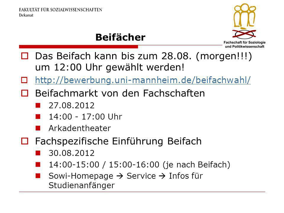 Beifächer Das Beifach kann bis zum 28.08. (morgen!!!) um 12:00 Uhr gewählt werden! http://bewerbung.uni-mannheim.de/beifachwahl/ Beifachmarkt von den