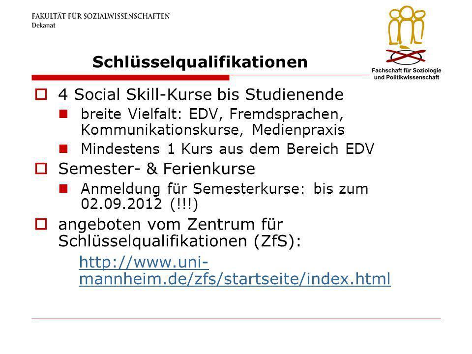 Schlüsselqualifikationen 4 Social Skill-Kurse bis Studienende breite Vielfalt: EDV, Fremdsprachen, Kommunikationskurse, Medienpraxis Mindestens 1 Kurs
