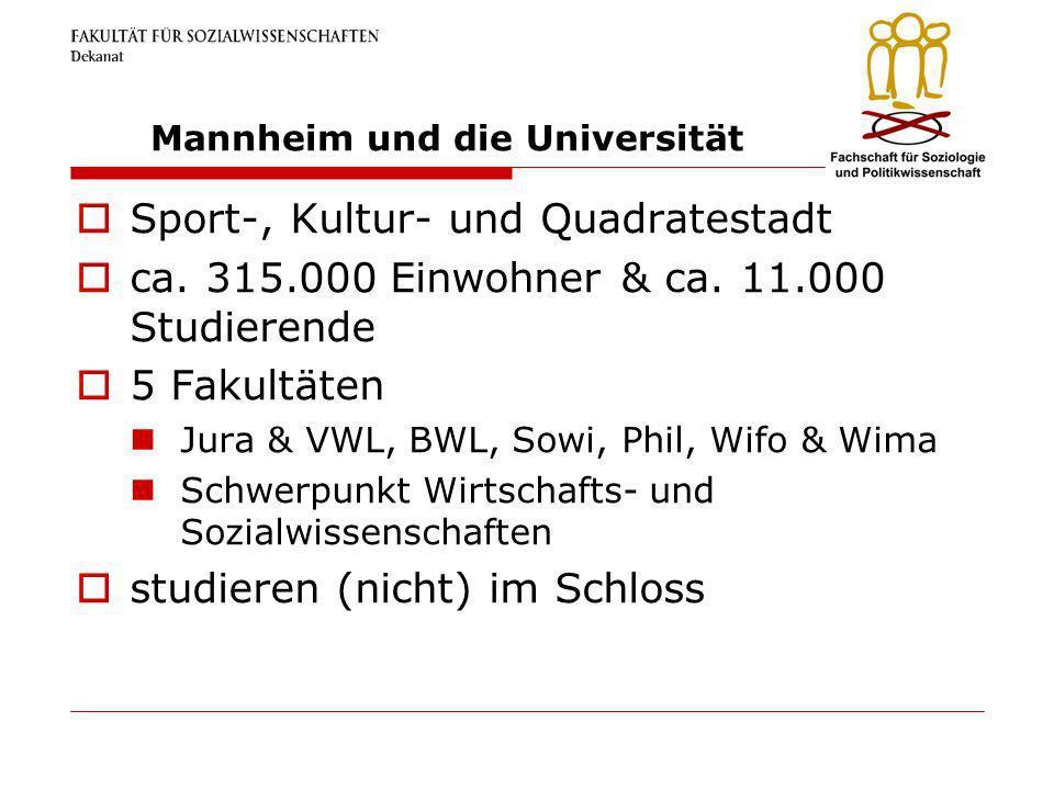 Mannheim und die Universität Sport-, Kultur- und Quadratestadt ca. 315.000 Einwohner & ca. 11.000 Studierende 5 Fakultäten Jura & VWL, BWL, Sowi, Phil