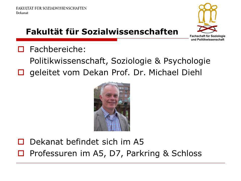 Fakultät für Sozialwissenschaften Fachbereiche: Politikwissenschaft, Soziologie & Psychologie geleitet vom Dekan Prof. Dr. Michael Diehl Dekanat befin