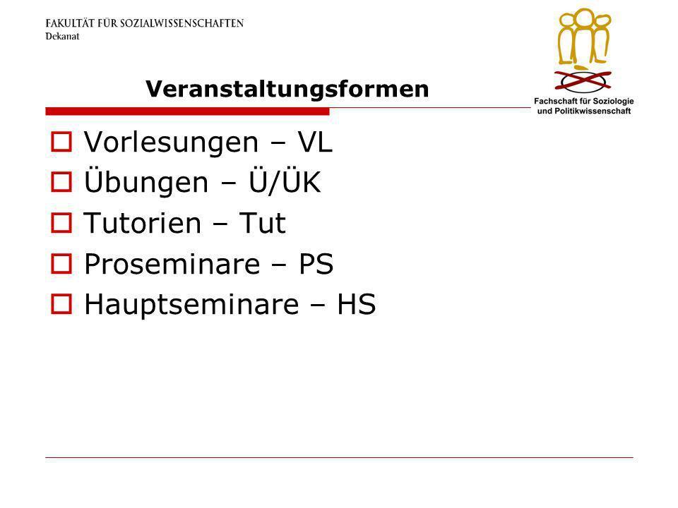 Veranstaltungsformen Vorlesungen – VL Übungen – Ü/ÜK Tutorien – Tut Proseminare – PS Hauptseminare – HS