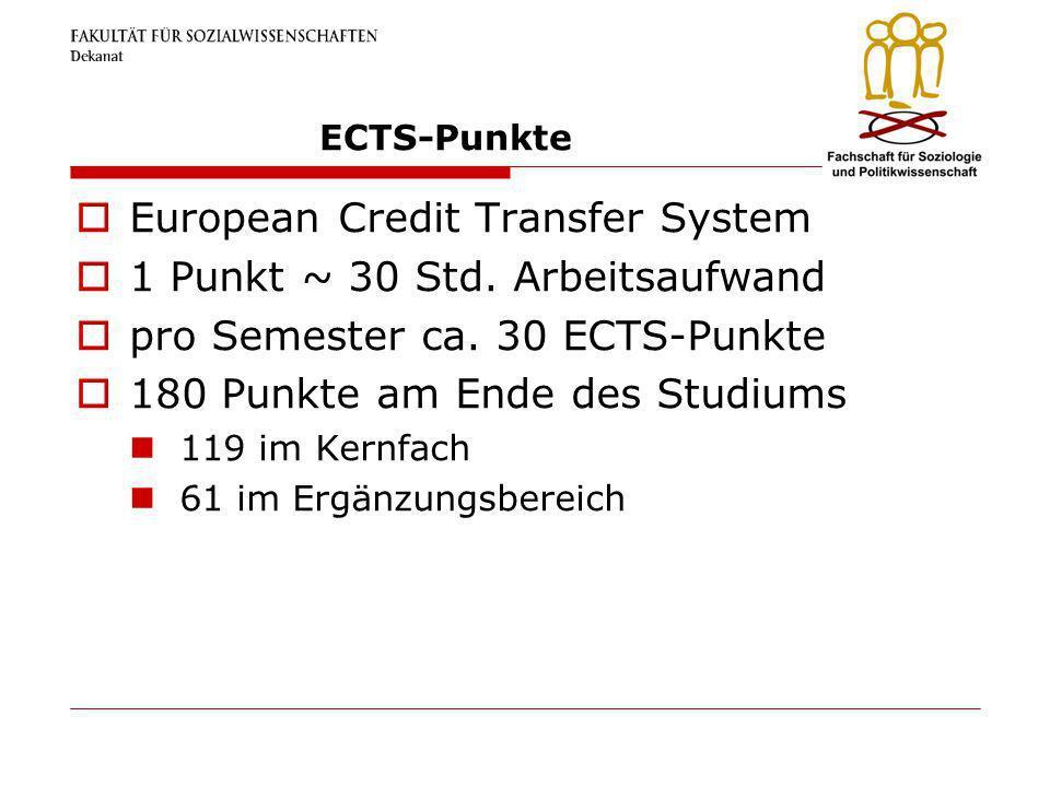 ECTS-Punkte European Credit Transfer System 1 Punkt ~ 30 Std. Arbeitsaufwand pro Semester ca. 30 ECTS-Punkte 180 Punkte am Ende des Studiums 119 im Ke