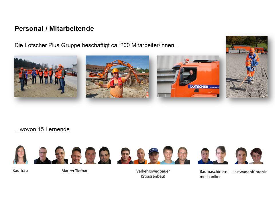 Personal / Mitarbeitende Die Lötscher Plus Gruppe beschäftigt ca. 200 Mitarbeiter/innen......wovon 15 Lernende