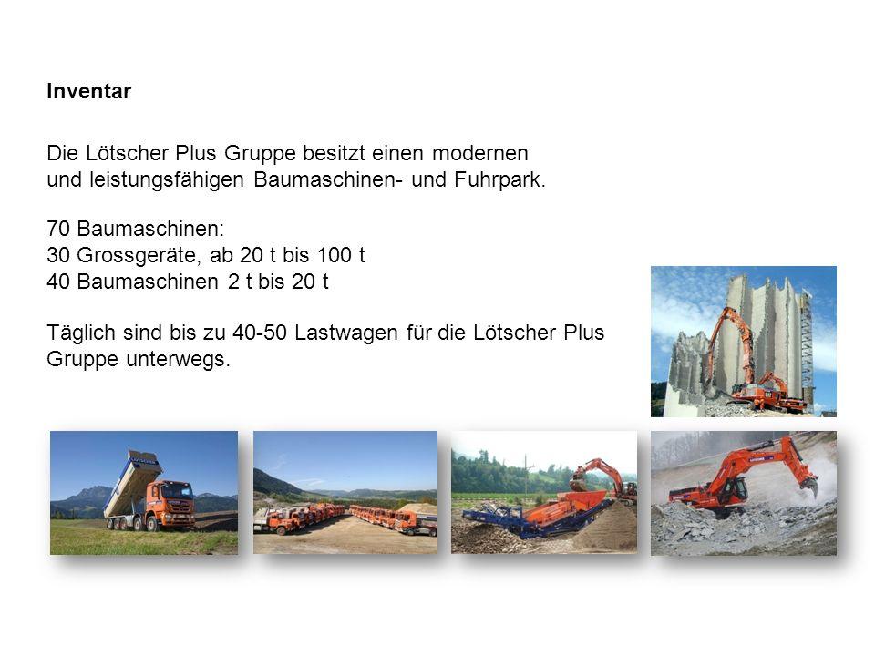 Inventar Die Lötscher Plus Gruppe besitzt einen modernen und leistungsfähigen Baumaschinen- und Fuhrpark. 70 Baumaschinen: 30 Grossgeräte, ab 20 t bis