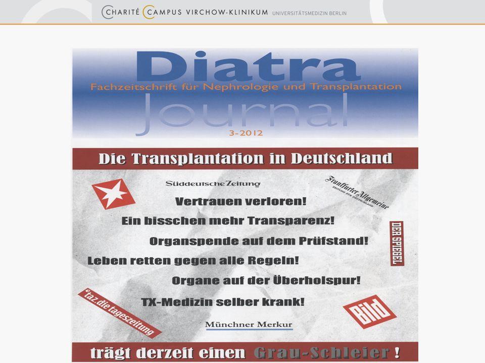 Spendenbereitschaft seit Anfang 2012 rückläufig 12 000 Menschen warten Oktober 2012: Bundesweit laut DSO nur 59 Organe gespendet (- 14 %)
