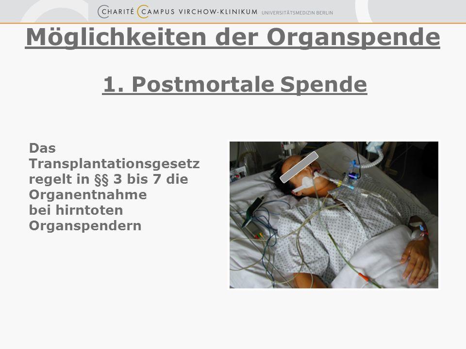 1. Postmortale Spende Möglichkeiten der Organspende Das Transplantationsgesetz regelt in §§ 3 bis 7 die Organentnahme bei hirntoten Organspendern