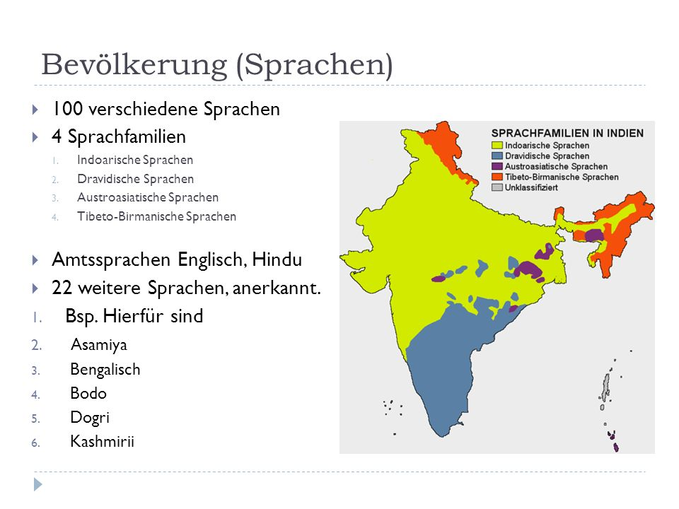 Bevölkerung (Sprachen) 100 verschiedene Sprachen 4 Sprachfamilien 1. Indoarische Sprachen 2. Dravidische Sprachen 3. Austroasiatische Sprachen 4. Tibe