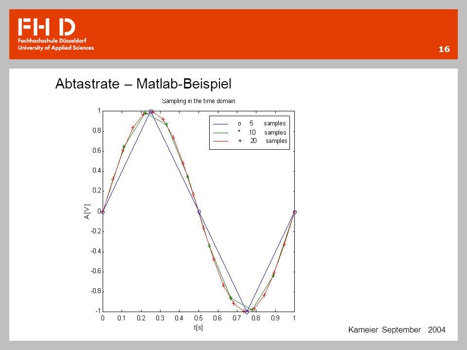 16 Abtastrate – Matlab-Beispiel Kameier September 2004