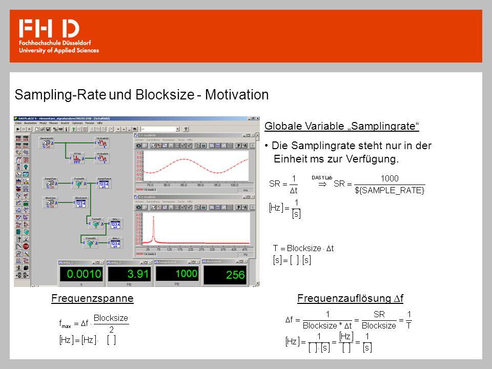 Sampling-Rate und Blocksize - Motivation Globale Variable Samplingrate Die Samplingrate steht nur in der Einheit ms zur Verfügung. FrequenzspanneFrequ