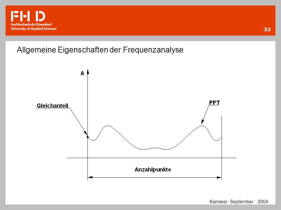 32 Kameier September 2004 Allgemeine Eigenschaften der Frequenzanalyse