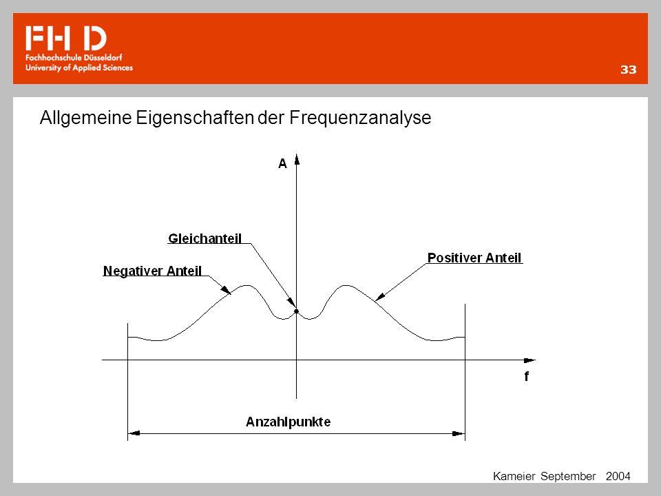 33 Kameier September 2004 Allgemeine Eigenschaften der Frequenzanalyse