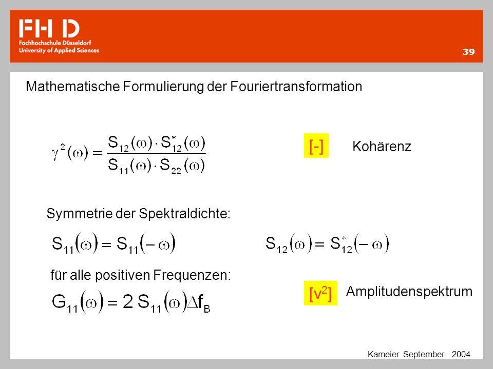 39 Kameier September 2004 Mathematische Formulierung der Fouriertransformation Kohärenz Symmetrie der Spektraldichte: [-] für alle positiven Frequenze