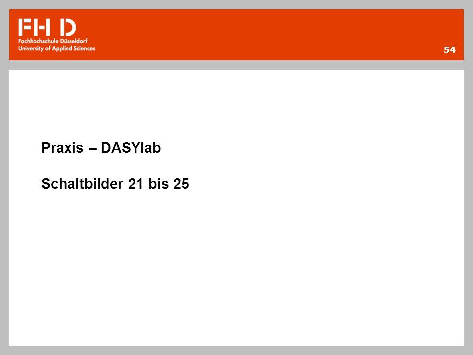 54 Praxis – DASYlab Schaltbilder 21 bis 25