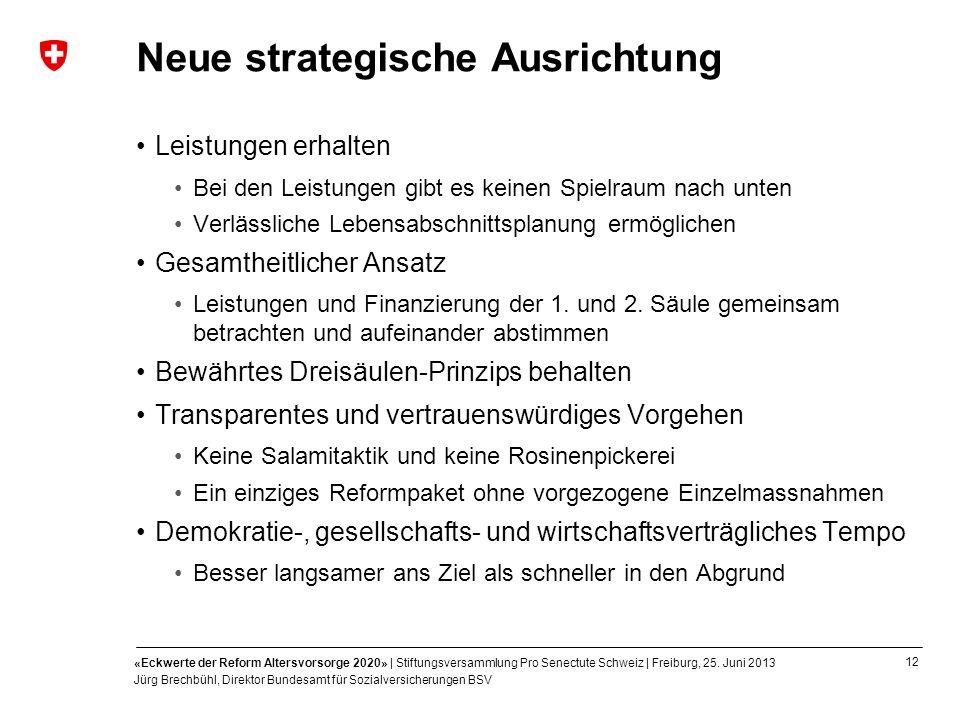12 «Eckwerte der Reform Altersvorsorge 2020» | Stiftungsversammlung Pro Senectute Schweiz | Freiburg, 25. Juni 2013 Jürg Brechbühl, Direktor Bundesamt