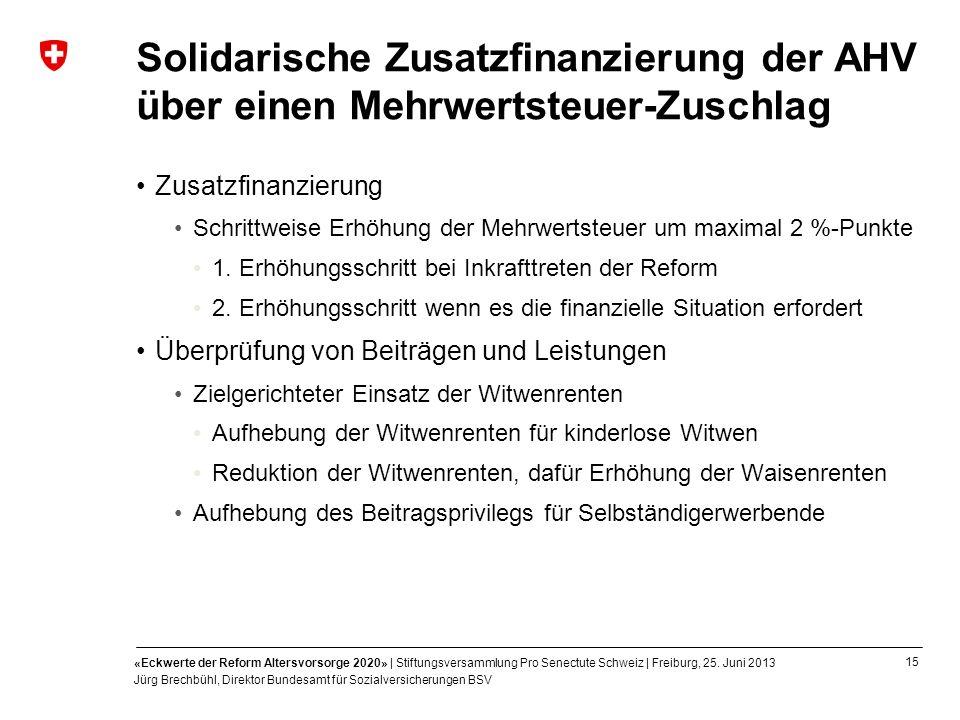 15 «Eckwerte der Reform Altersvorsorge 2020» | Stiftungsversammlung Pro Senectute Schweiz | Freiburg, 25. Juni 2013 Jürg Brechbühl, Direktor Bundesamt