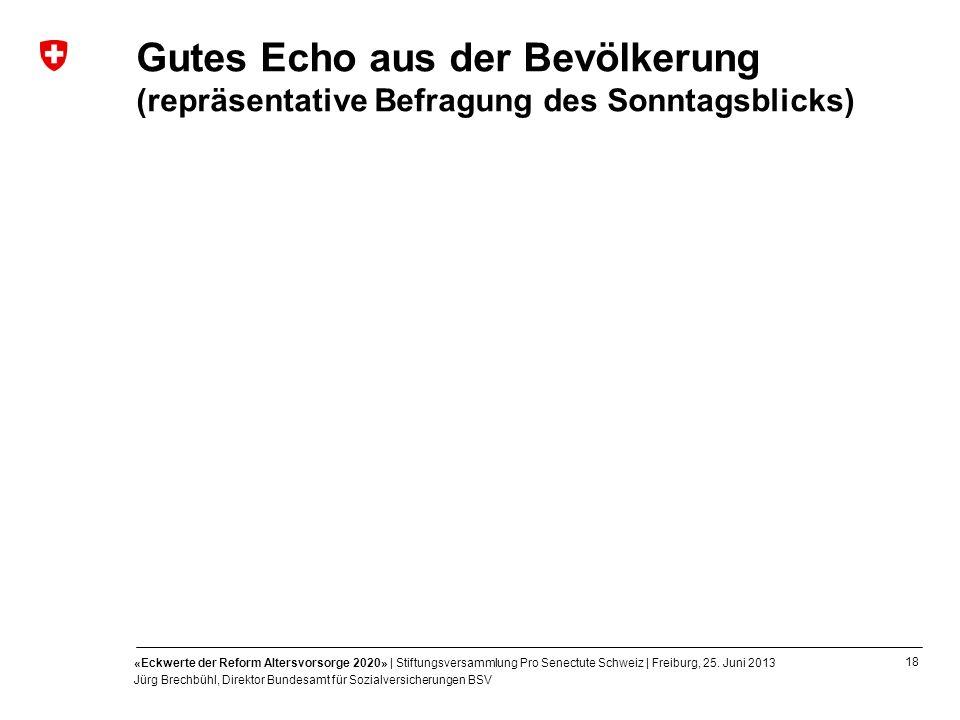 18 «Eckwerte der Reform Altersvorsorge 2020» | Stiftungsversammlung Pro Senectute Schweiz | Freiburg, 25. Juni 2013 Jürg Brechbühl, Direktor Bundesamt
