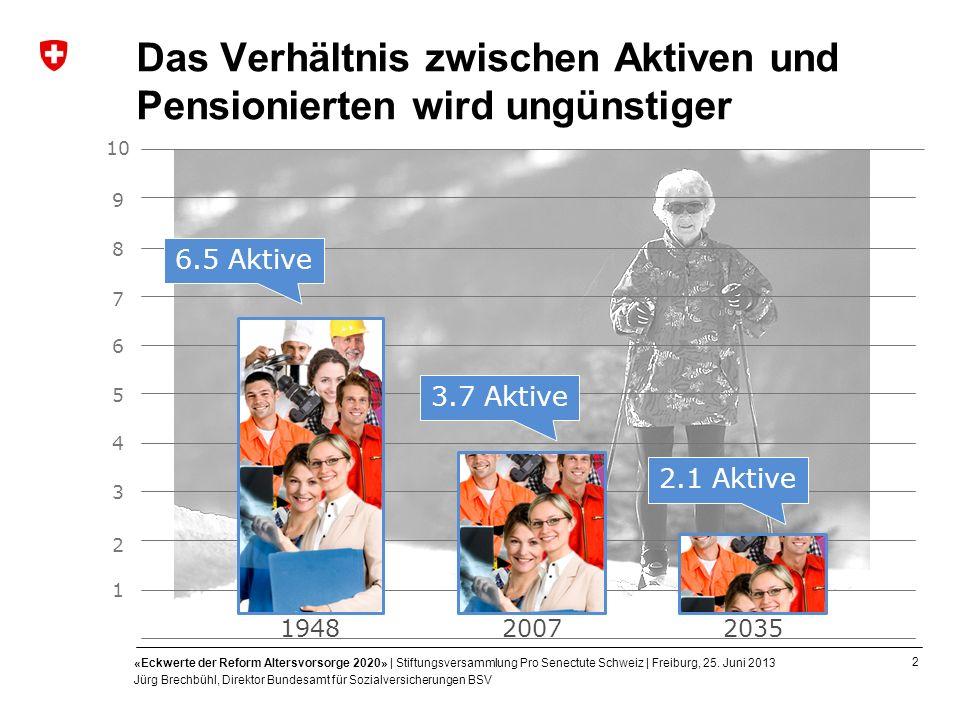 2 «Eckwerte der Reform Altersvorsorge 2020» | Stiftungsversammlung Pro Senectute Schweiz | Freiburg, 25. Juni 2013 Jürg Brechbühl, Direktor Bundesamt