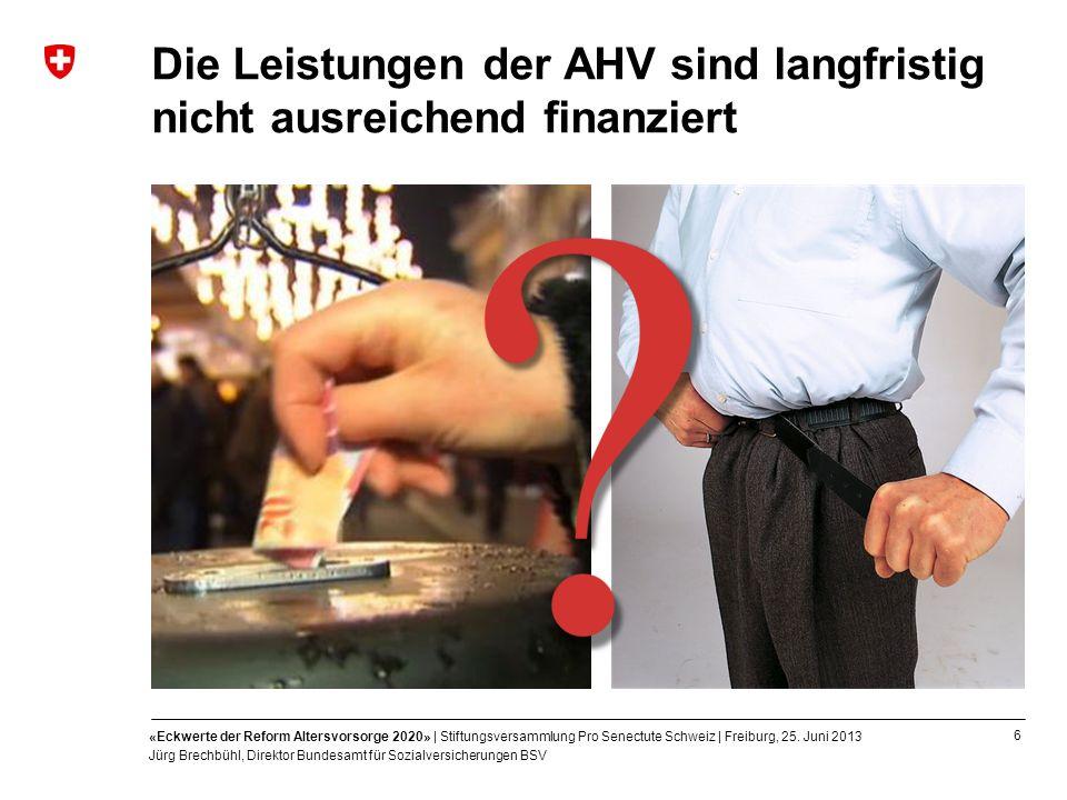 6 «Eckwerte der Reform Altersvorsorge 2020» | Stiftungsversammlung Pro Senectute Schweiz | Freiburg, 25. Juni 2013 Jürg Brechbühl, Direktor Bundesamt