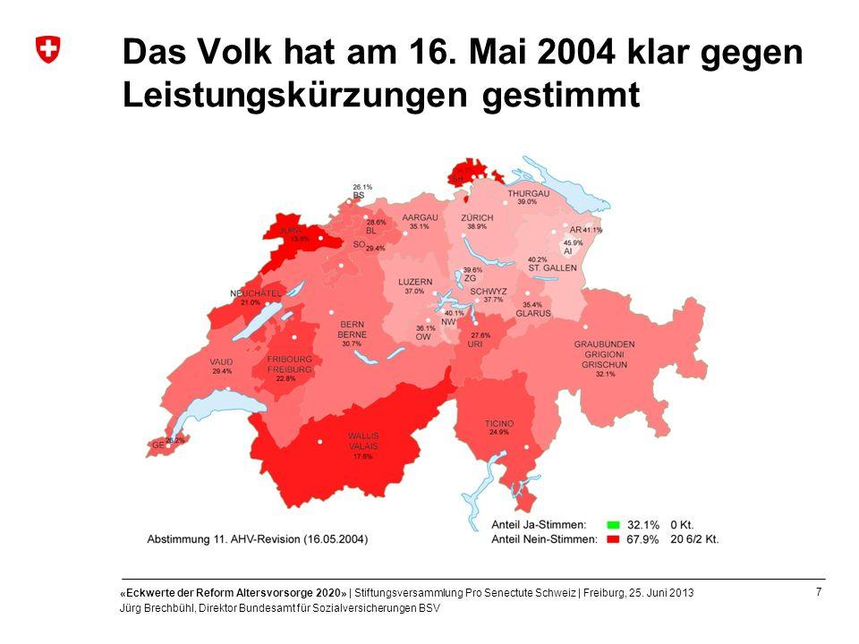 7 «Eckwerte der Reform Altersvorsorge 2020» | Stiftungsversammlung Pro Senectute Schweiz | Freiburg, 25. Juni 2013 Jürg Brechbühl, Direktor Bundesamt