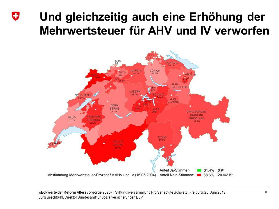 8 «Eckwerte der Reform Altersvorsorge 2020» | Stiftungsversammlung Pro Senectute Schweiz | Freiburg, 25. Juni 2013 Jürg Brechbühl, Direktor Bundesamt