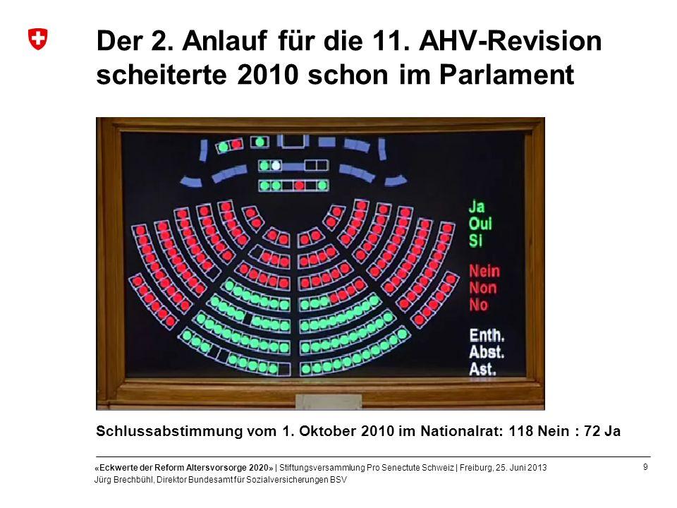 9 «Eckwerte der Reform Altersvorsorge 2020» | Stiftungsversammlung Pro Senectute Schweiz | Freiburg, 25. Juni 2013 Jürg Brechbühl, Direktor Bundesamt