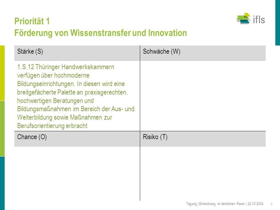 4 Priorität 1 Förderung von Wissenstransfer und Innovation Stärke (S)Schwäche (W) 1.S.12 Thüringer Handwerkskammern verfügen über hochmoderne Bildungseinrichtungen.
