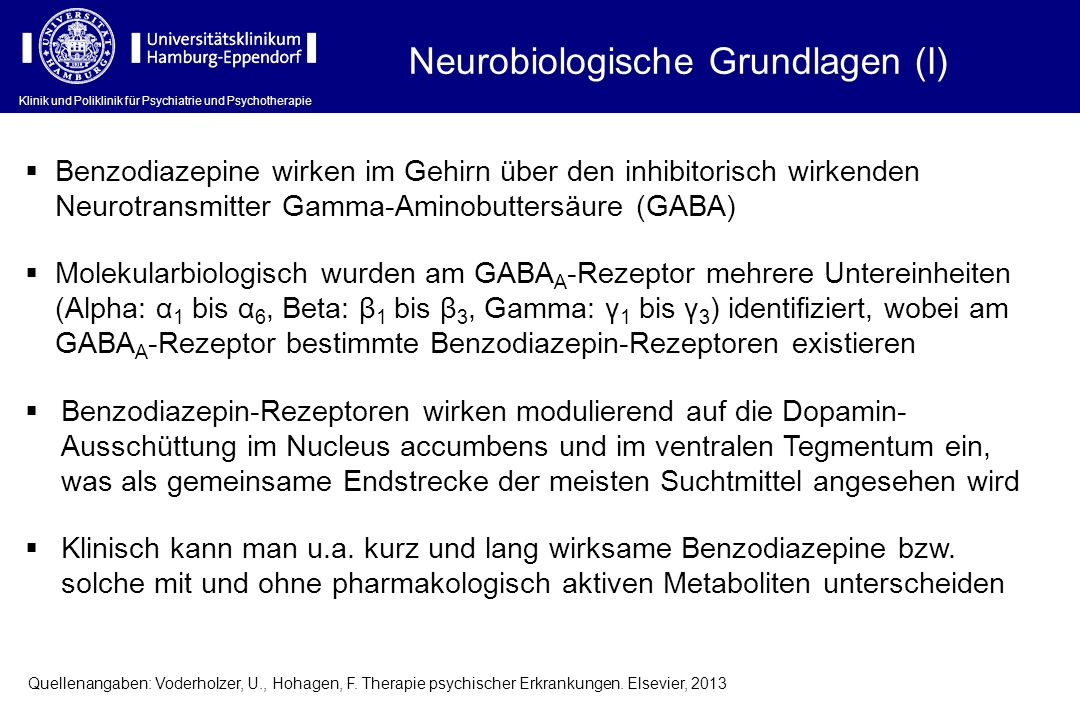 Neurobiologische Grundlagen (I) Benzodiazepine wirken im Gehirn über den inhibitorisch wirkenden Neurotransmitter Gamma-Aminobuttersäure (GABA) Moleku