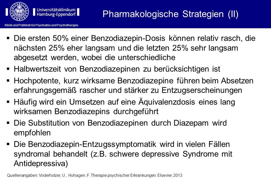 Klinik und Poliklinik für Psychiatrie und Psychotherapie Die ersten 50% einer Benzodiazepin-Dosis können relativ rasch, die nächsten 25% eher langsam