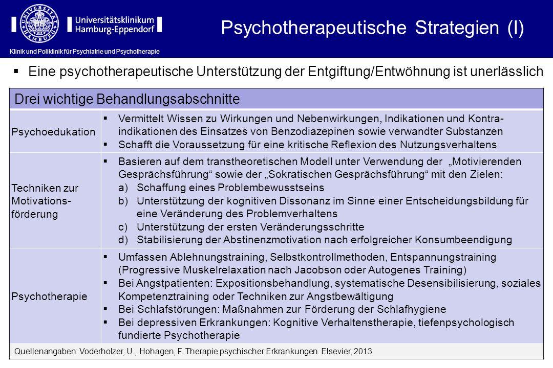 Klinik und Poliklinik für Psychiatrie und Psychotherapie Psychotherapeutische Strategien (I) Eine psychotherapeutische Unterstützung der Entgiftung/En
