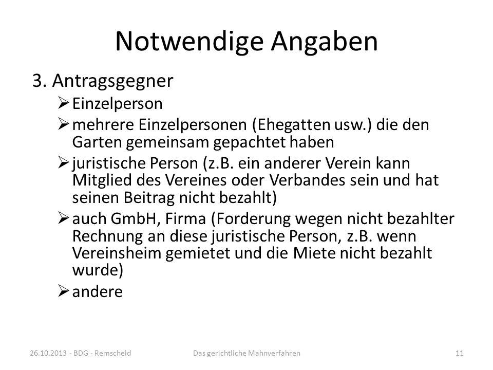 Notwendige Angaben 2. Antragssteller (Bezeichnung Rechtsform) natürliche Person – Name und Anschrift nicht eingetragener Verein (schwierig) juristisch