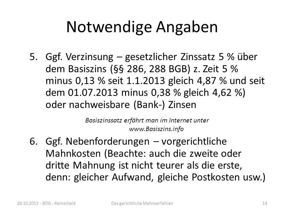Hauptforderungskatalog 26.10.2013 - BDG - RemscheidDas gerichtliche Mahnverfahren13