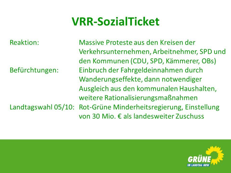 VRR-SozialTicket Reaktion:Massive Proteste aus den Kreisen der Verkehrsunternehmen, Arbeitnehmer, SPD und den Kommunen (CDU, SPD, Kämmerer, OBs) Befür