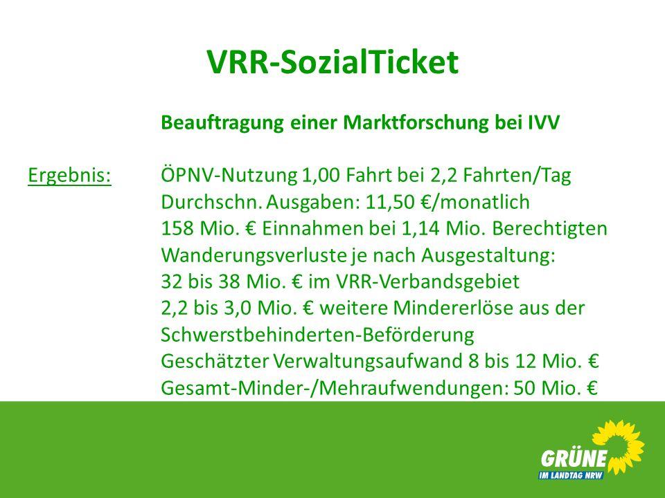 VRR-SozialTicket Beauftragung einer Marktforschung bei IVV Ergebnis:ÖPNV-Nutzung 1,00 Fahrt bei 2,2 Fahrten/Tag Durchschn. Ausgaben: 11,50 /monatlich