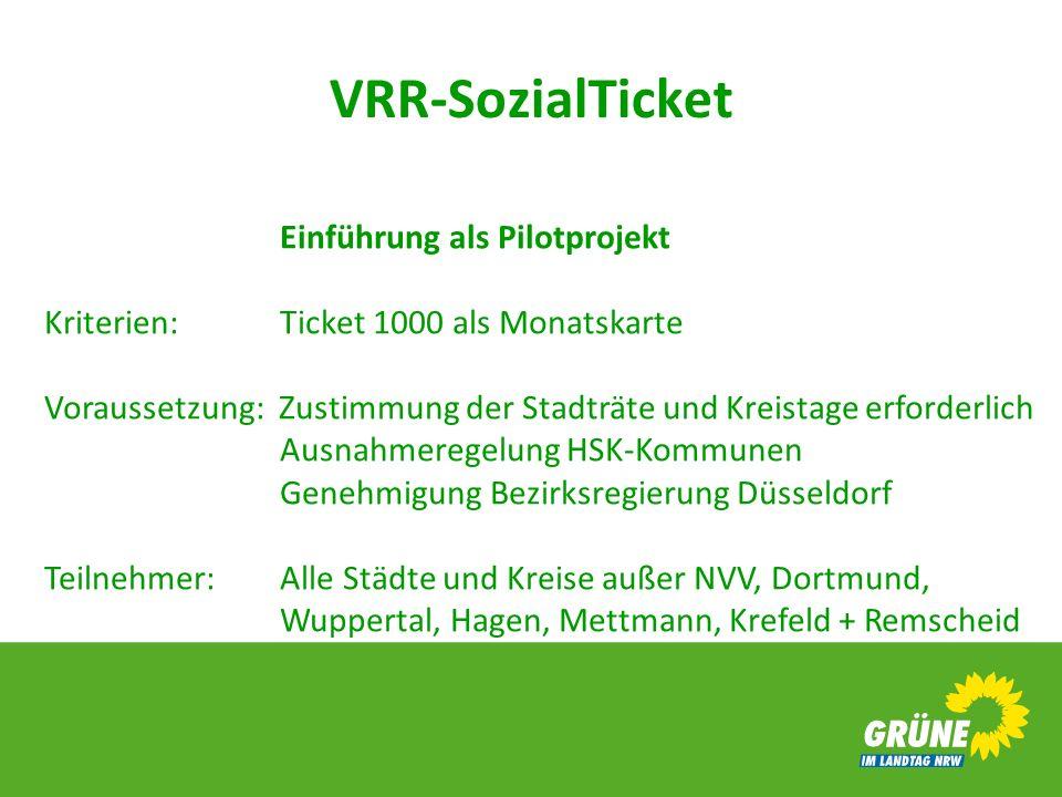 VRR-SozialTicket Einführung als Pilotprojekt Kriterien: Ticket 1000 als Monatskarte Voraussetzung: Zustimmung der Stadträte und Kreistage erforderlich