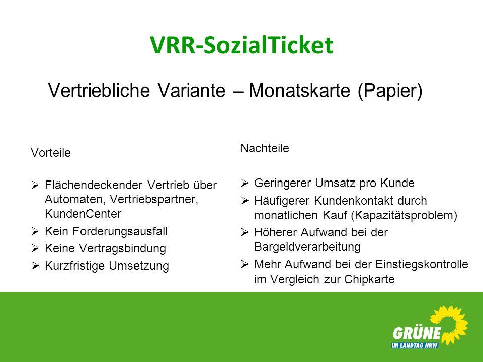 VRR-SozialTicket Nachteile Geringerer Umsatz pro Kunde Häufigerer Kundenkontakt durch monatlichen Kauf (Kapazitätsproblem) Höherer Aufwand bei der Bar