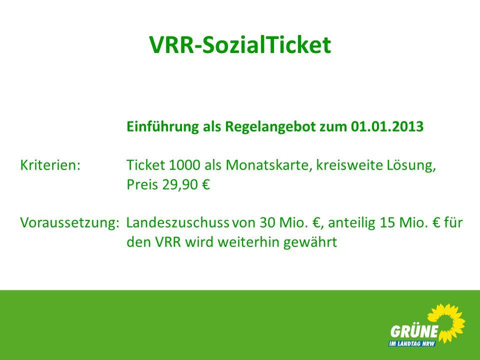VRR-SozialTicket Einführung als Regelangebot zum 01.01.2013 Kriterien: Ticket 1000 als Monatskarte, kreisweite Lösung, Preis 29,90 Voraussetzung: Land