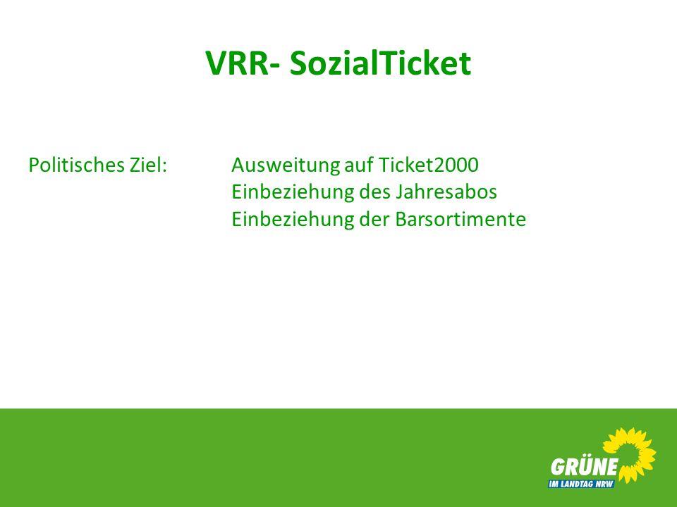 VRR- SozialTicket Politisches Ziel:Ausweitung auf Ticket2000 Einbeziehung des Jahresabos Einbeziehung der Barsortimente