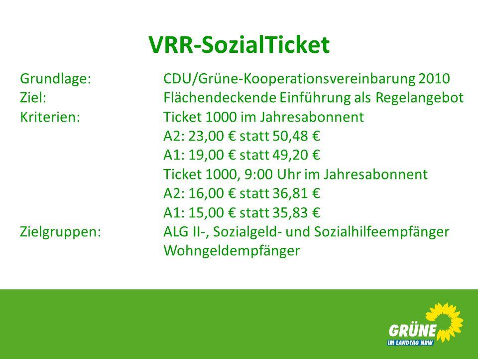 VRR-SozialTicket Grundlage:CDU/Grüne-Kooperationsvereinbarung 2010 Ziel:Flächendeckende Einführung als Regelangebot Kriterien:Ticket 1000 im Jahresabo