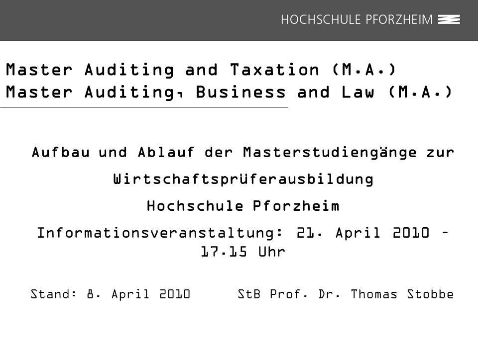 Master Auditing and Taxation (M.A.) Zulassungsprüfung: Zulassungsprüfung: 2 x 180 Minuten Termin : Ende Dezember/Anfang Januar 2011; s.