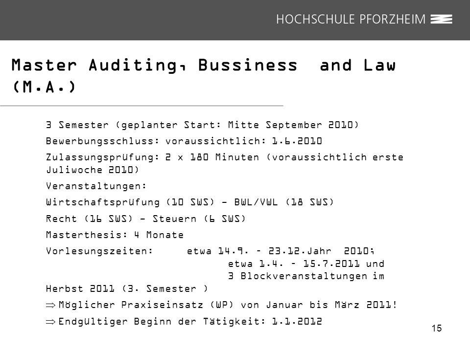 15 Master Auditing, Bussiness and Law (M.A.) 3 Semester (geplanter Start: Mitte September 2010) Bewerbungsschluss: voraussichtlich: 1.6.2010 Zulassung