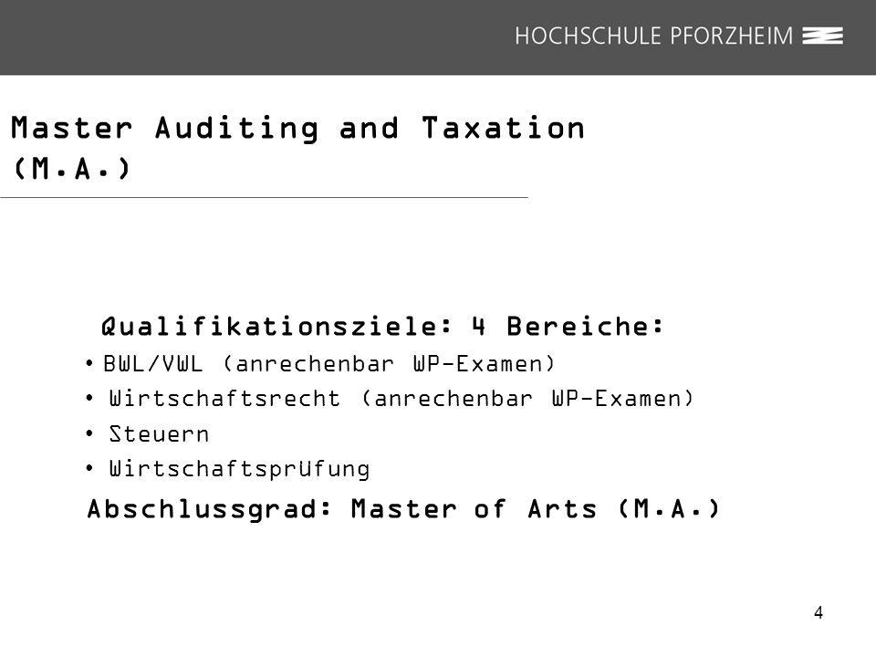Master Auditing and Taxation (M.A.) Qualifikationsziele: 4 Bereiche: BWL/VWL (anrechenbar WP-Examen) Wirtschaftsrecht (anrechenbar WP-Examen) Steuern