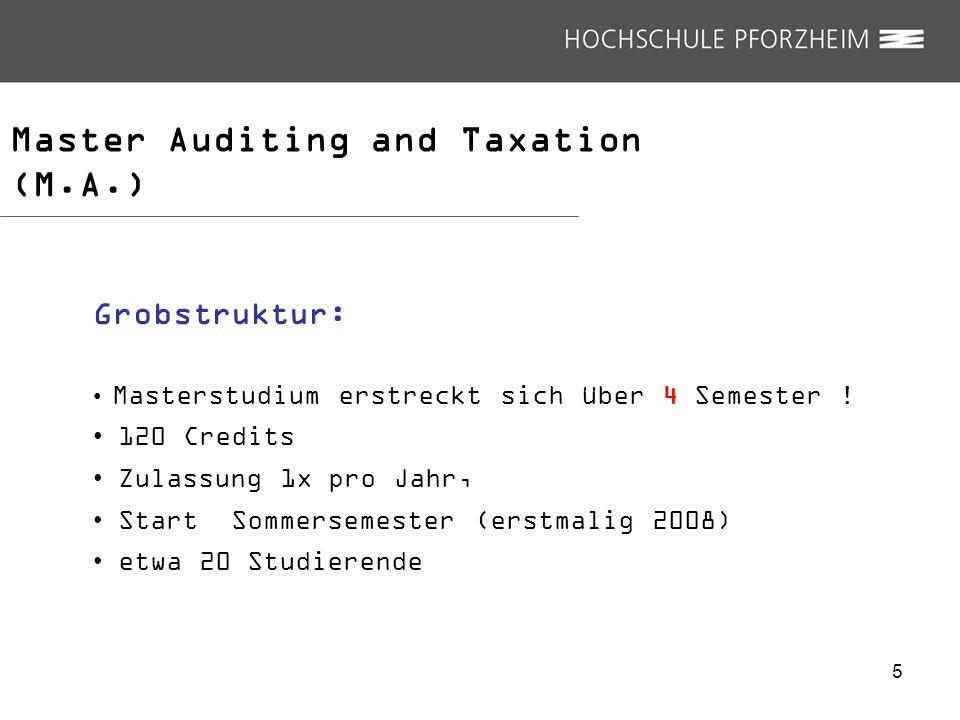 Master Auditing and Taxation (M.A.) Grobstruktur: Masterstudium erstreckt sich über 4 Semester ! 120 Credits Zulassung 1x pro Jahr, Start Sommersemest