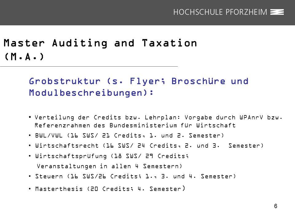 Master Auditing and Taxation (M.A.) Grobstruktur (s. Flyer; Broschüre und Modulbeschreibungen): Verteilung der Credits bzw. Lehrplan: Vorgabe durch WP