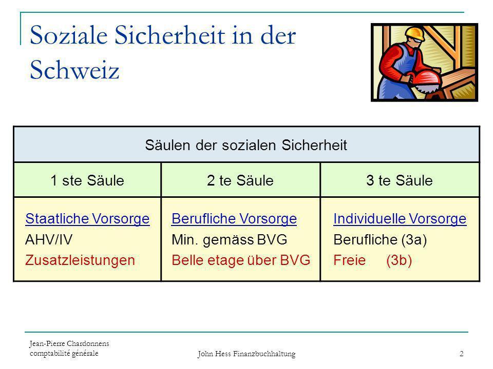 Jean-Pierre Chardonnens comptabilité générale John Hess Finanzbuchhaltung 2 Soziale Sicherheit in der Schweiz Säulen der sozialen Sicherheit 1 ste Säu