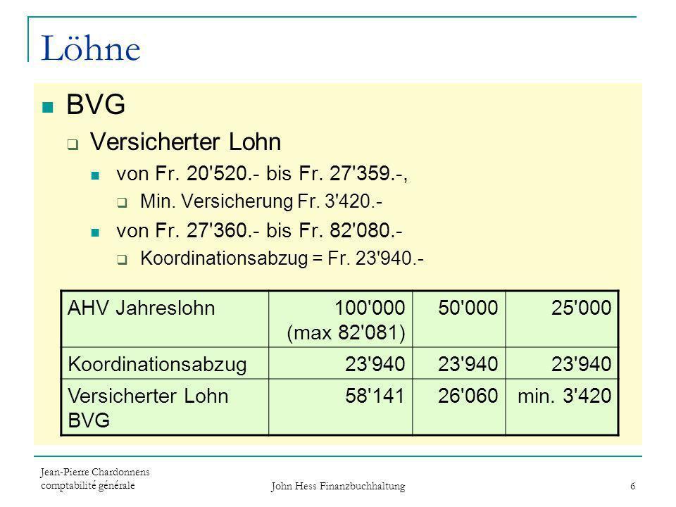 Jean-Pierre Chardonnens comptabilité générale John Hess Finanzbuchhaltung 6 Löhne BVG Versicherter Lohn von Fr. 20'520.- bis Fr. 27'359.-, Min. Versic