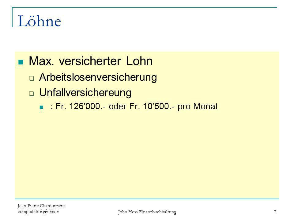 Jean-Pierre Chardonnens comptabilité générale John Hess Finanzbuchhaltung 7 Löhne Max. versicherter Lohn Arbeitslosenversicherung Unfallversichereung