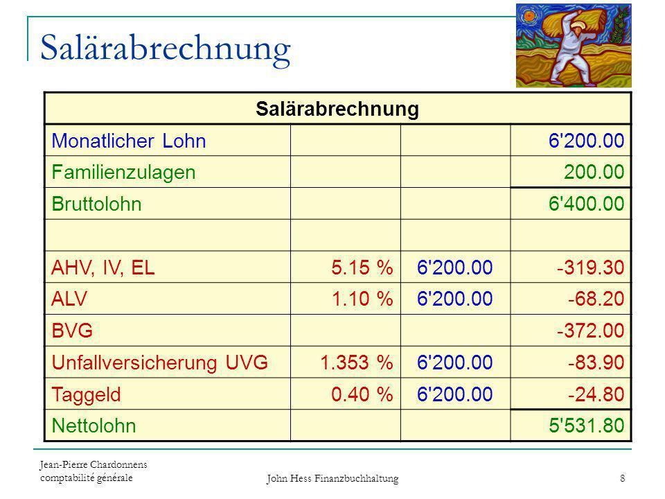 Jean-Pierre Chardonnens comptabilité générale John Hess Finanzbuchhaltung 8 Salärabrechnung Monatlicher Lohn6'200.00 Familienzulagen200.00 Bruttolohn6